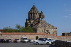 Gandzasar, Nagorno-Karabakh Republic: 20 september 2014: Old medieval armenia Stock Photos