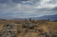 Big megalithic menhirs of Zorats Karer (Carahunge) - prehistory megalithic mo Stock Photos