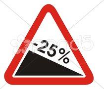 Rückgang Abschwung minus 25 % Stock Photos