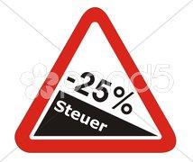 25 % Prozent Steuer Abzug Stock Photos