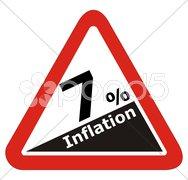 Warnschild mit Hinweis auf  Inflation Stock Photos