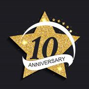 Template Logo 10 Anniversary Vector Illustration Stock Illustration