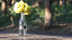 Bouquet with rose and lettering thank you, park in the background, space for Stock Footage