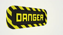 Rotating danger sign. Stock Footage