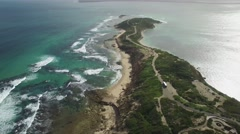 Flying towards Fort Nepean passing shuttle bus and reaching the tip of peninsula Stock Footage