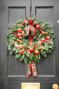 Red apple and chillies wreath Stock Photos