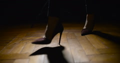 Woman Legs In High-Heeled Shoes Walking On Wooden Floor Stock Footage