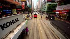 RIDING ON TRAM HONG KONG CHINA Stock Footage