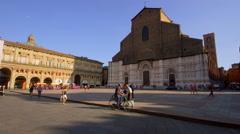 SAN PETRONIO BASILICA CITY PIAZZA MAGGIORE BOLOGNA Stock Footage