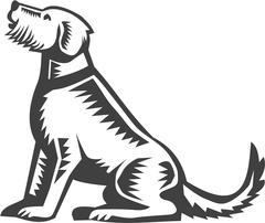 Welsh Terrier Sitting Woodcut Stock Illustration