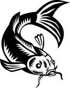 Koi Nishikigoi Carp Fish Woodcut Stock Illustration