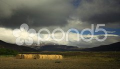 Sunlit straw bales Stock Photos