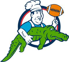 Chef Twirling Football Carry Alligator Circle Retro Stock Illustration