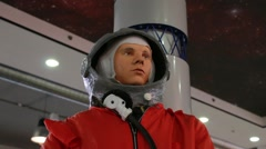 Wax figure of Yuri Gagarin with spaceman outfit Stock Footage