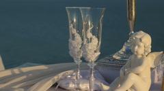 Wedding paraphernalia at the seaside Stock Footage