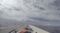 In a fishing motor boat on the open sea Stock Footage