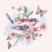 Watercolor floral card, bird on a blooming branch Stock Illustration
