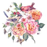 Vintage watercolor floral card. Birds and rose Stock Illustration