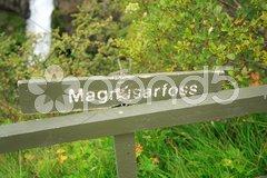 Magnustafoss signpost Stock Photos