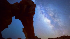 Astro Time Lapse of Milky Way over Elephant Rock in Valley of Fire -Pan Right- Stock Footage