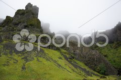 Misty hills of Iceland Stock Photos