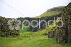 Dverghamrar and waterfall Stock Photos