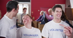 A cheerful and dedicated group of volunteers Stock Footage