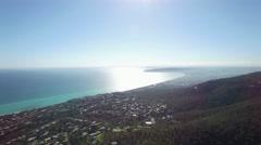 Aerial circular pan across Mornington Peninsula, suburbs and Port Phillip bay Stock Footage