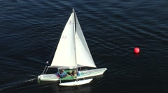 The yacht floats on water, top view. Stock Footage