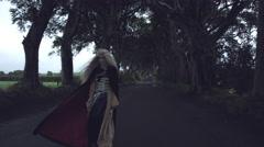 4k Fantasy Shot in Dark Hedges, Queen Standing in the Wind Stock Footage