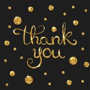Thank you golden text for card. Modern brush calligraphy Stock Illustration