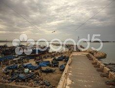 View over Essaouira harbour Stock Photos