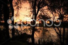 Sunrise over Uaso Nyiro River Stock Photos
