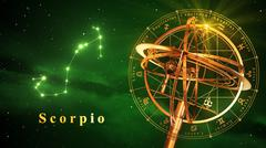 Armillary Sphere And Constellation Scorpio Over Green Background Stock Illustration