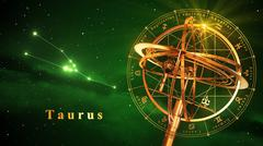 Armillary Sphere And Constellation Taurus Over Green Background Stock Illustration