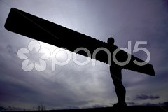 Silhouette of Angel of the North Stock Photos