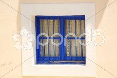 Blue painted window Stock Photos