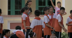 Vietnamese children at physical education. Hanoi, Vietnam Stock Footage