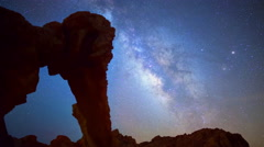 Astro Time Lapse of Milky Way over Elephant Rock in Valley of Fire  Stock Footage