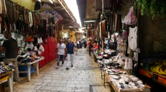 Market in the  alleys of the Old City of Jerusalem. Stock Footage