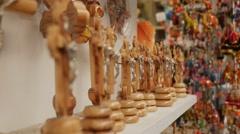 Souvenir shop at the market. Stock Footage