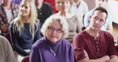 Mature male speaker who is addressing a public meeting or church group Stock Footage