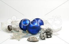 Dekoration in blau und silber Stock Photos