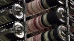 Carpet weaving power loom detail Stock Footage