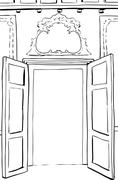 Outlined Rococo Doors Illustration Stock Illustration