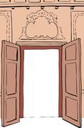 Brown Rococo Doorway Illustration Stock Illustration