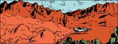 Anti-Gravity Racer in Desert Stock Illustration