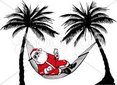 Weihnachtsmann in Hängematte Stock Photos