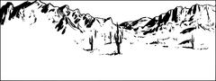 Outlined Desert Mountain Background with Clear Sky Stock Illustration
