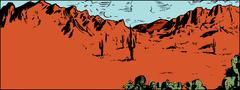 Sketch of Sonaran Desert with Cactus Stock Illustration